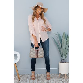 Think It Through Button Up Top (Blush)
