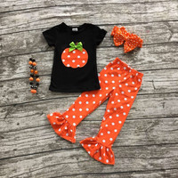 girls clothing sets baby halloween boutique outfits girls Halloween pumpkin clothes ruffle polka dot capri pant with accessories