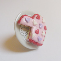 Scented or Unscented Heart Cake Miniature Food Ring - Miniature Food Jewelry
