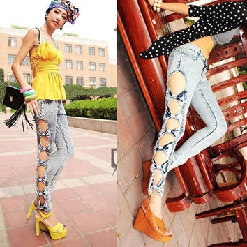 Vintage Detailed Woman Side Bow Cutout Ripped Denim Sexy Jeans Jeggings Trousers  5028 = 1904728132