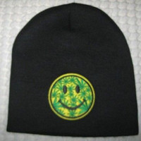 A Large Yellow Smiley Face with Green MJ Weed Leaves on Black Hat Cap Beanie-New