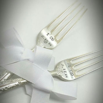 I Do Me Too With Personalized Wedding Date Cake Forks-Wedding Cake Forks Bridal Shower Gift