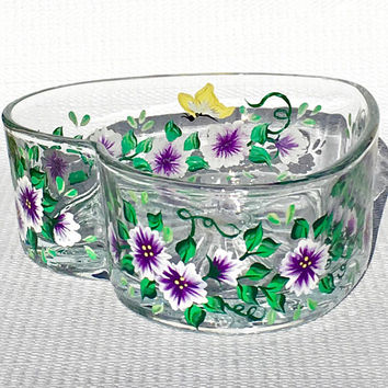 Heart Shaped Glass Candy Dish With Hand Painted Purple Flowers, Valentines Day Gift, Gifts For Her, Mothers Day Gift, Birthday Gift