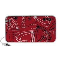 Red Black & White Valentine's Love Hearts Portable Speakers from Zazzle.com