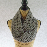 Ready To Ship Infinity Large  Scarf Crochet Knit Medium Gray Grey Women's Accessories Eternity Fall Winter