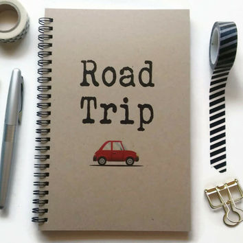 Writing journal, spiral notebook, Bullet journal, brown kraft journal, lined blank or grid pages- Road trip, vacation, travel journal