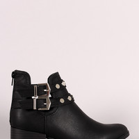 Qupid Almond Toe Studded Double Buckle Booties