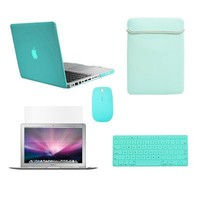 """Top Case Macbook Pro 13"""" 13-inch (A1278 / with or without Thunderbolt) 5 in 1 Bundle - HOT BLUE Ultra Slim Light Weight Crystal Hard Case Cover + Matching Color Soft Sleeve Bag +Wireless Mouse + Silicone Keyboard Cover + LCD HD Clear Screen Protector -NOT"""