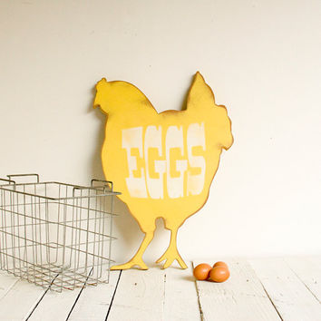 Eggs Farm House Vintage Inspired Wood Sign Yellow by EdiesLab