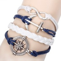 Blue and White Braided Infinity Bracelet with Compass Anchor and Forever Charm