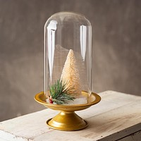 Gold Display Stand with Glass Dome Cloche