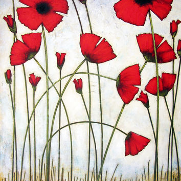 """""""Tall Red Poppies"""" - Large Red Poppy Painting - Print"""