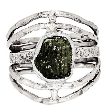 Moldavite Meteorite Rough Sterling Silver Open Texture Band Ring
