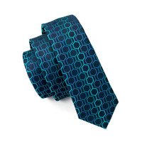 Men`s Tie 100% Silk Skinny Narrow Blue Novelty Geometric Jacquard Woven Necktie For Wedding Groom Party Business