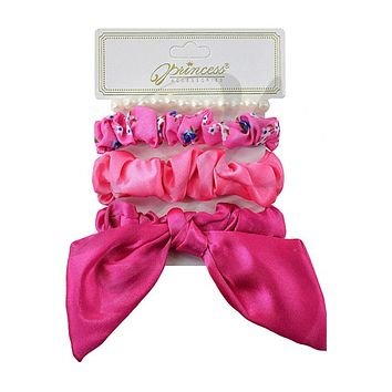 Adorable 4pc Hair Bow, Scrunchy Set - 6 Colors