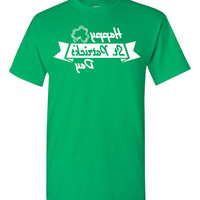 Happy St Patrick's Day Mens Cool Selfie Tshirt Color Green Tees with White Ink S M L XL 2XL 3XL Celfie