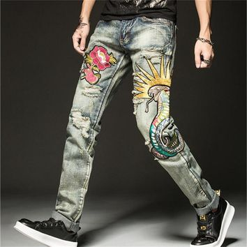 Embroidery Jeans Men Stretch Casual Ripped Skinny Jeans Men Designer Straight Jeans Men Pants Quality Biker Jean Pants A5273