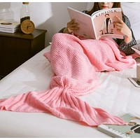 Soft Comfortable Knitted Mermaid Sofa Blanket