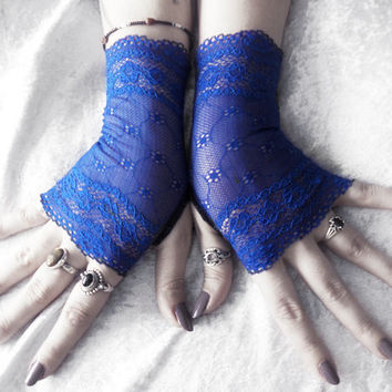 Allons-y Lace Fingerless Gloves - Royal Cobalt Blue Floral - Wedding Bridal Bridesmaid Gothic Lolita Elegant Dark Tribal Burlesque Bohemian
