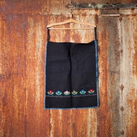 Natural organic cotton apron natural organic wool apron handwoven apron woman Bulgarian kitchen apron embroidered apron ethnic apron vintage