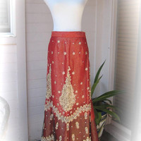 STUNNING 80s Long Indian Beaded Skirt - Vintage Red Gradient to Black Heavily Beaded Indian Skirt - Lovely Condition