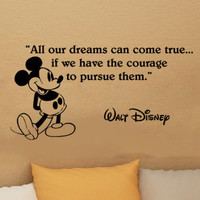 Walt Disney Mickey Mouse dreams can come true wall quote vinyl wall art decal sticker