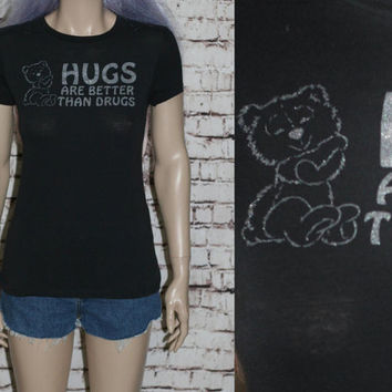 90s Tshirt Graphic Teddy Bear Hugs Not Drugs Baby Doll Fitted Nu Grunge Punk Goth Hipster Festival Pastel Gothic Rave Club Kid Women M L Tee