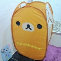 Cute San-X Rilakkuma Relax Bear brown Foldable Laundry Basket / Storage / Bag Foldable Laundry Toys Basket Tidy Clothes Socks Storage 1pcs