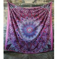 Floral Geometric Purple Tapestry