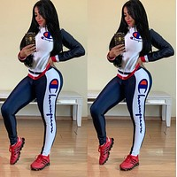 Champion Fashion Women Long Sleeve High Collar Top Pants Set Two-Piece Sportswear white