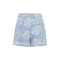 Nautical Love Seahorses Print Stretch High Rise Waisted Shorts