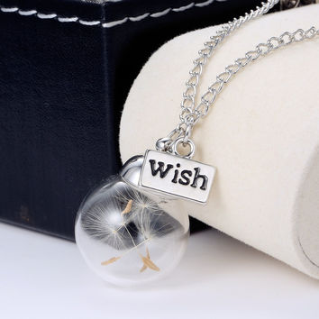 Make A Wish Glass Bead Orb silver plated Necklace  Natural dandelion seed in glass long necklace