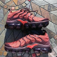 Nike Air Max Vapormax Plus TN Vascular Atmospheric Cushion Fashion Burgundy Personality Men's and Women's Casual Sports Shoes