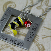 """Hand Stamped Personalized Stainless Steel Firefighter's Wife Necklace. """"My Husband, My Hero"""""""