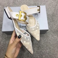 DIOR Hot Sale Women Pointed Sandals Half Slipper Mules Shoes