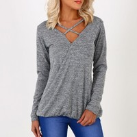 Chit Chat Grey Wrap Front Top
