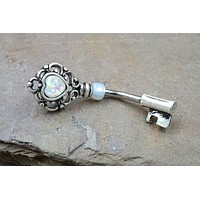 Heart and Key Opal Belly Button Ring