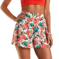 Ivory Combo Floral Print Full High-Waisted Shorts by Charlotte Russe