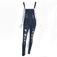 Women Adjustable Strap Ripped Denim Overalls Jean Jumpsuits Suspender Trousers