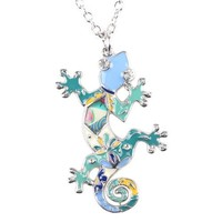 Gecko Necklace Enamel lizard Pendant Zinc Alloy Plated New Fashion Jewelry For Women Statement Accessories