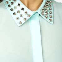 Sheer Spiked Collar Shirt