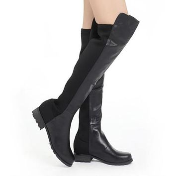 Suede and Pu Leather Flats Knee High Boots 7572