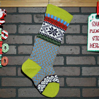 Colorful Hand Knit Christmas Stocking, Fair Isle Design, Grass Green Cuff with Snowflakes and Hearts, can be personalized