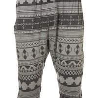 Grey Aztec Pattern Shorts - Mens Pyjamas & Loungewear   - Clothing