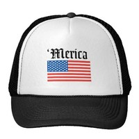 Merica Old English Letters Flag Hat from Zazzle.com