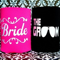 SET OF 2 BRIDE AND THE GROOM Koozie / Coolie / Coozie / Cozy / Huggy
