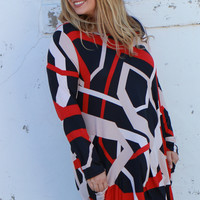 Steal Your Heart Zig-Zag Print Tunic/Dress With Pockets ~ Taupe ~ Sizes 12-18