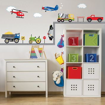 Wall Decals Trucks, Tractor and EMS Vehicles, Airplane and Helicopter Decals plus 15 ft Straight Road, Primary Colors, Eco Friendly Wall Stickers