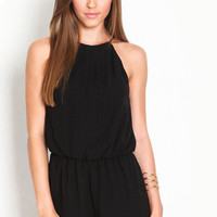 Hot Sale Women's Fashion Black Backless Summer Jumpsuit [7278855879]