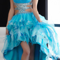 Jasz Couture 2013 Prom - Turquoise Two-Toned Ruffled High Low Gown - Unique Vintage - Prom dresses, retro dresses, retro swimsuits.